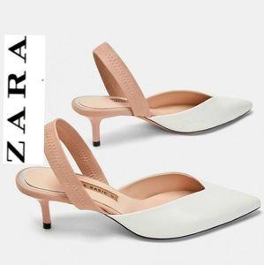 ZARA Colorblock Pointed Toe Slingback Pumps